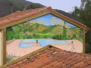 fresque murale dans un camping vers Perpignan