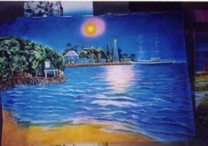 fresque murale vue océan
