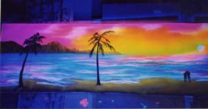 fresque murale support toile